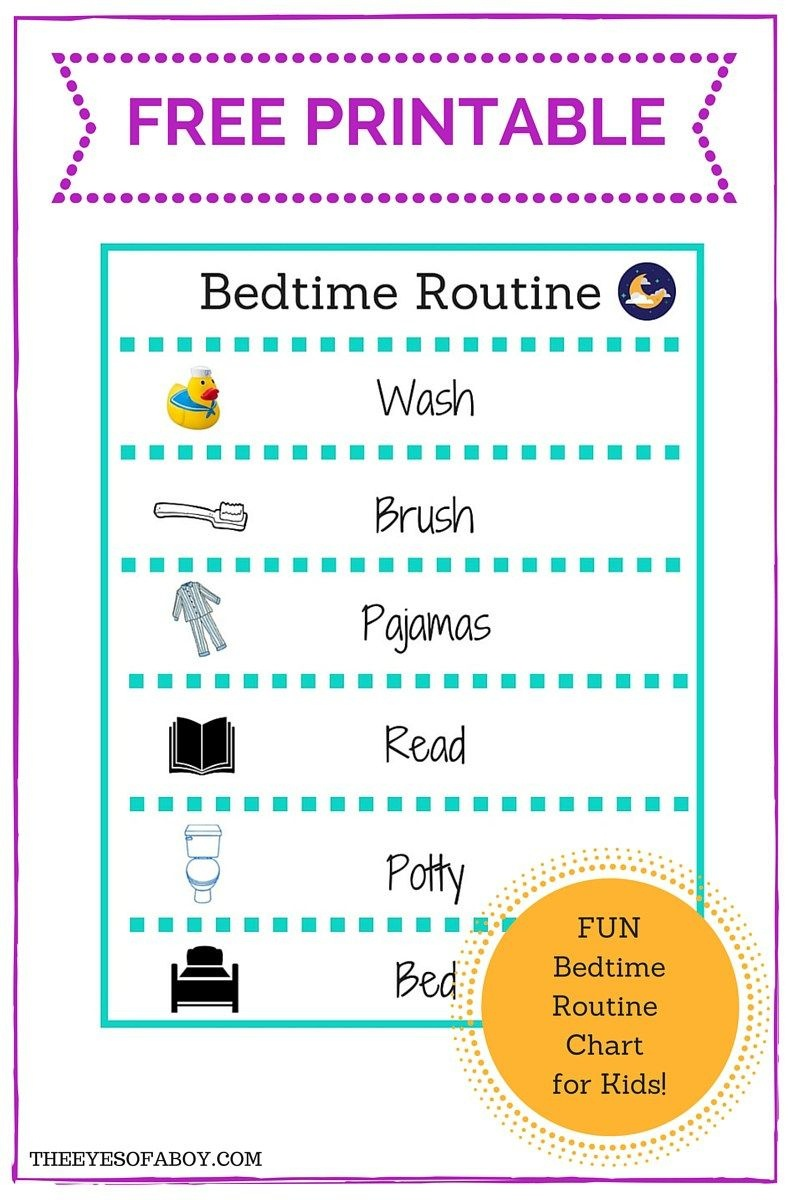 Free Printable Bedtime Routine Chart For Little Kids And Toddlers - Free Printable Bedtime Routine Chart