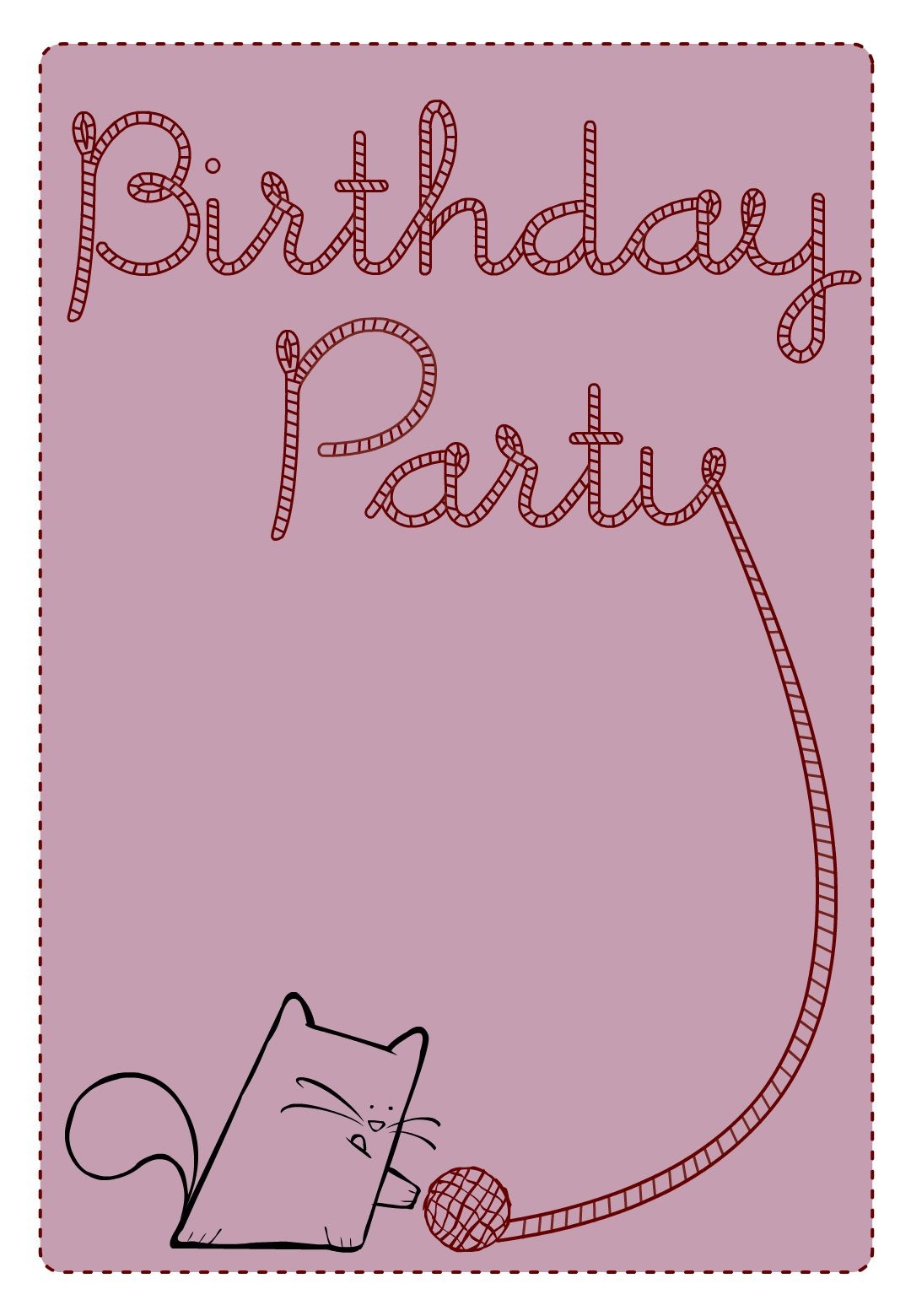 Free Printable Birthday Party Cat Invitation | Birthday Party Ideas - Free Printable Birthday Invitations Pinterest