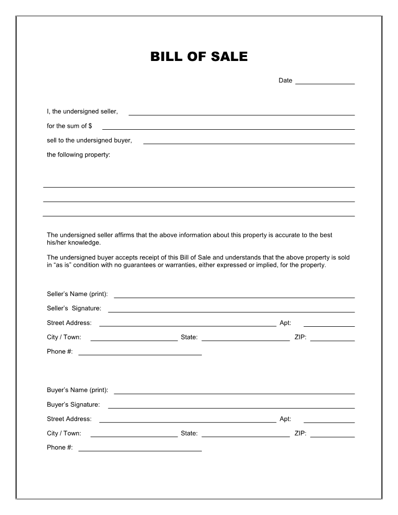 Free Printable Blank Bill Of Sale Form Template - As Is Bill Of Sale - Free Printable Bill Of Sale For Trailer
