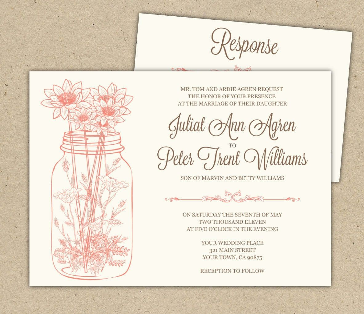 Free Printable Bridal Shower Invitations | Wedding Invitations - Free Mason Jar Wedding Invitation Printable Templates