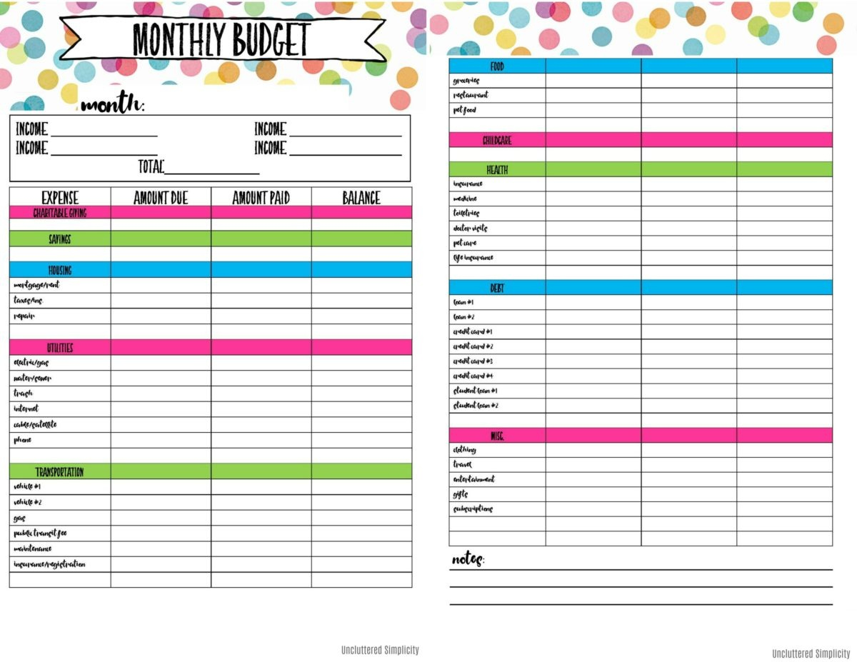 Free Printable Budget Planning Worksheets - Free Printable Budget Worksheets
