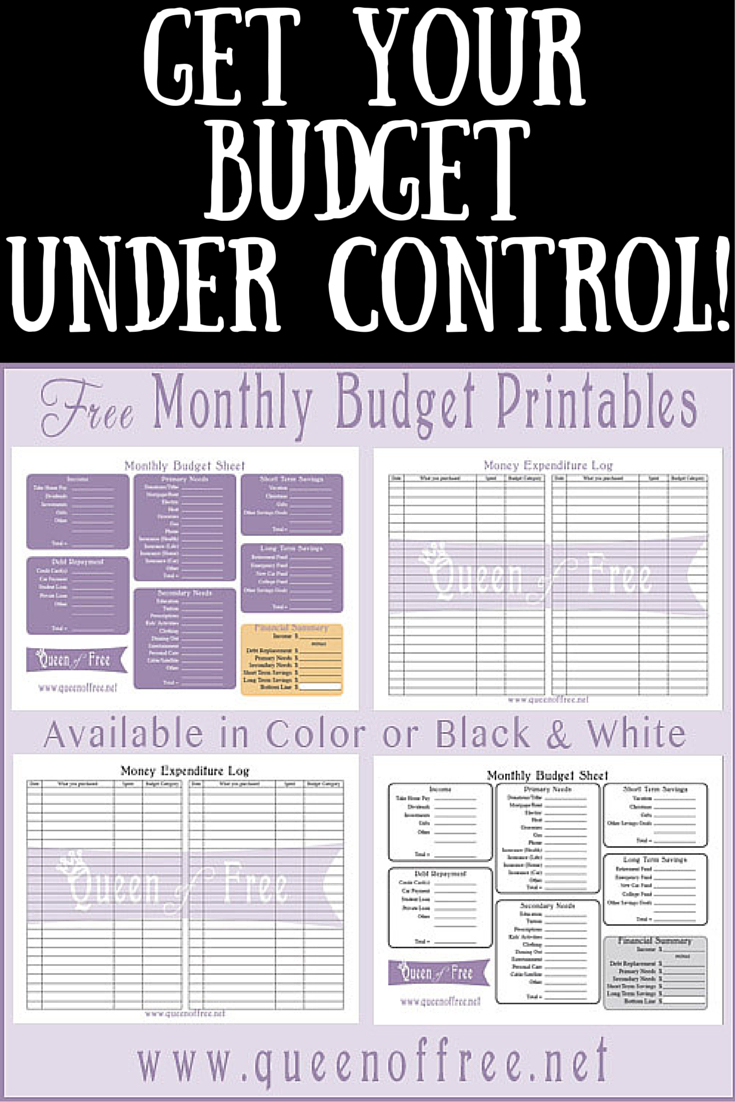 Free Printable Budget Worksheet - Queen Of Free - Free Printable Budget Sheets