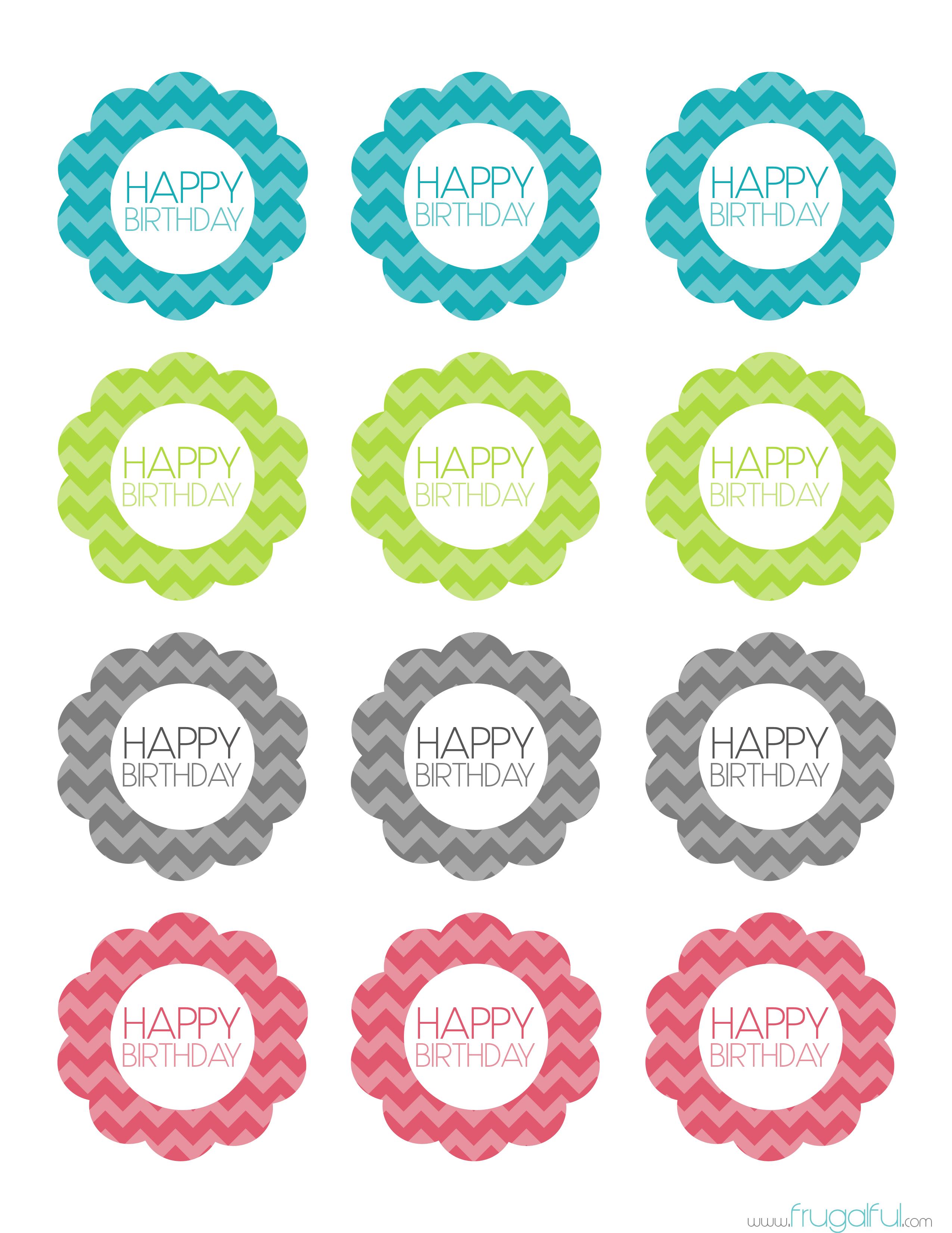 Free Printable Chevron Birthday Cupcake Topper | Frugalful | Par - Free Printable Cupcake Toppers