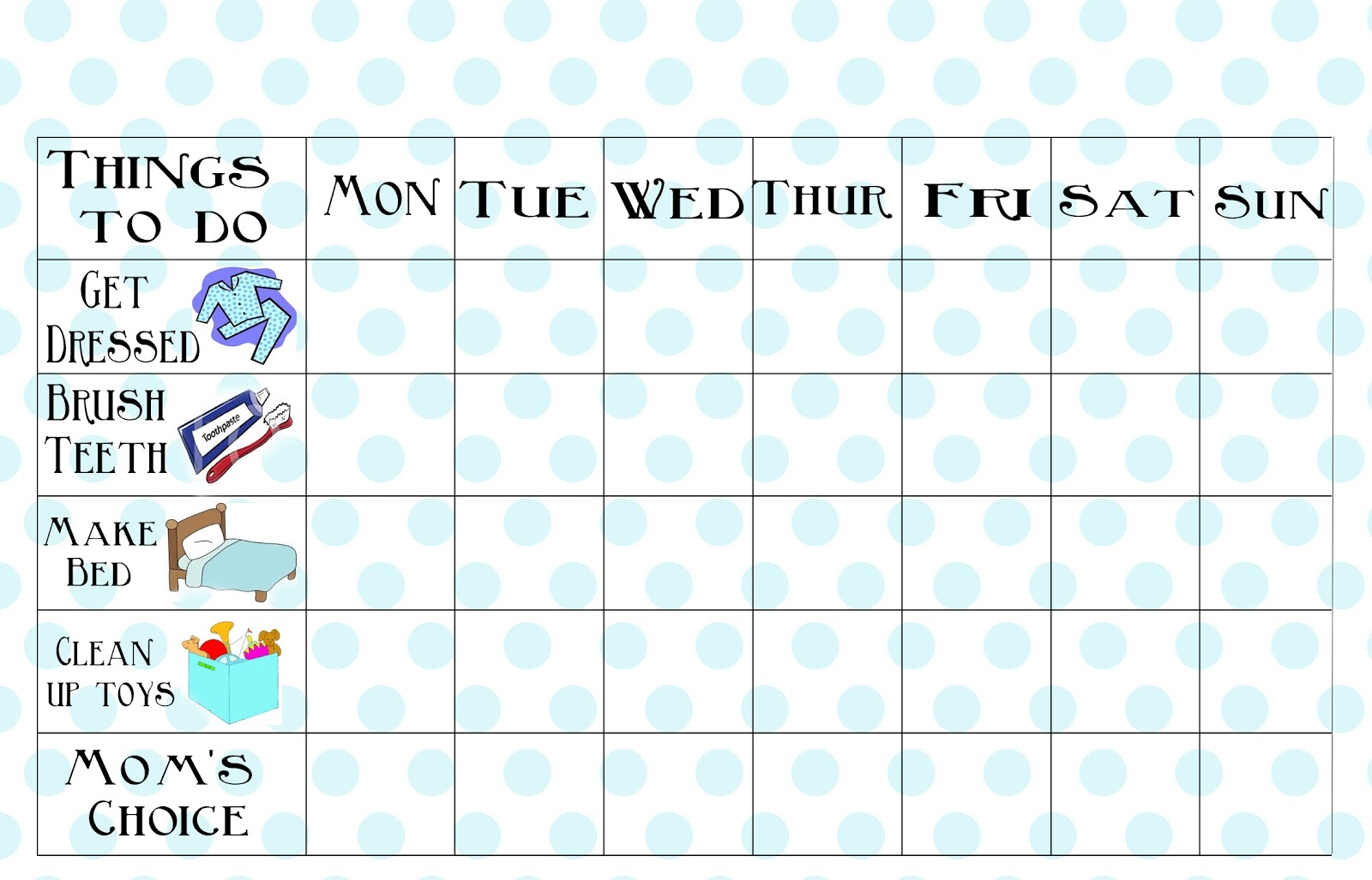 Free Printable Chore Chart - Free Printable Charts And Lists
