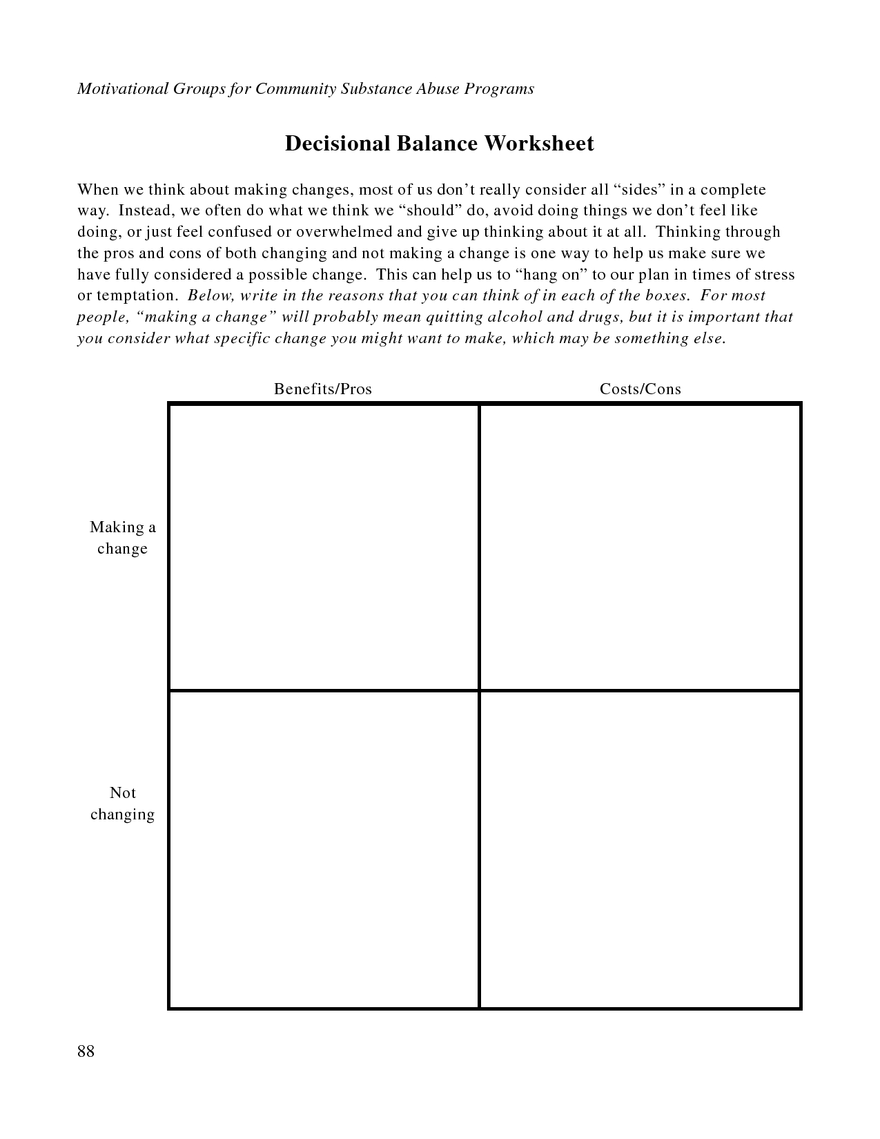 Free Printable Dbt Worksheets | Decisional Balance Worksheet - Pdf - Free Printable Making Change Worksheets