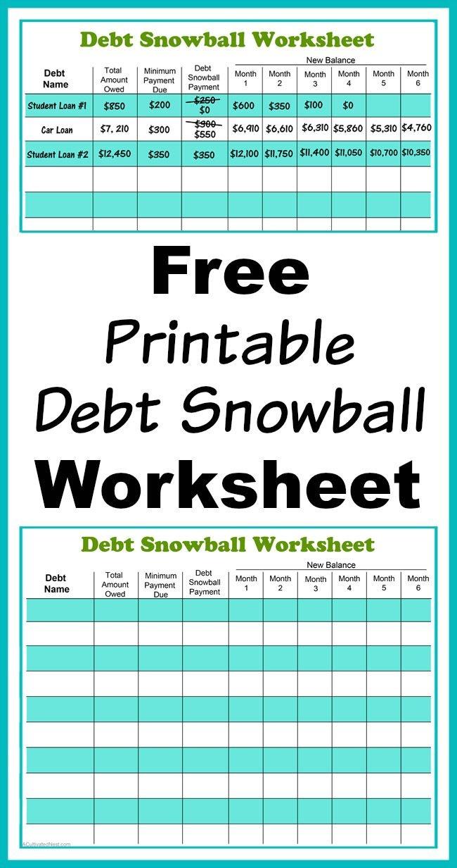 Free Printable Debt Snowball Worksheet   Living Frugally - Money - Free Printable Debt Snowball Worksheet