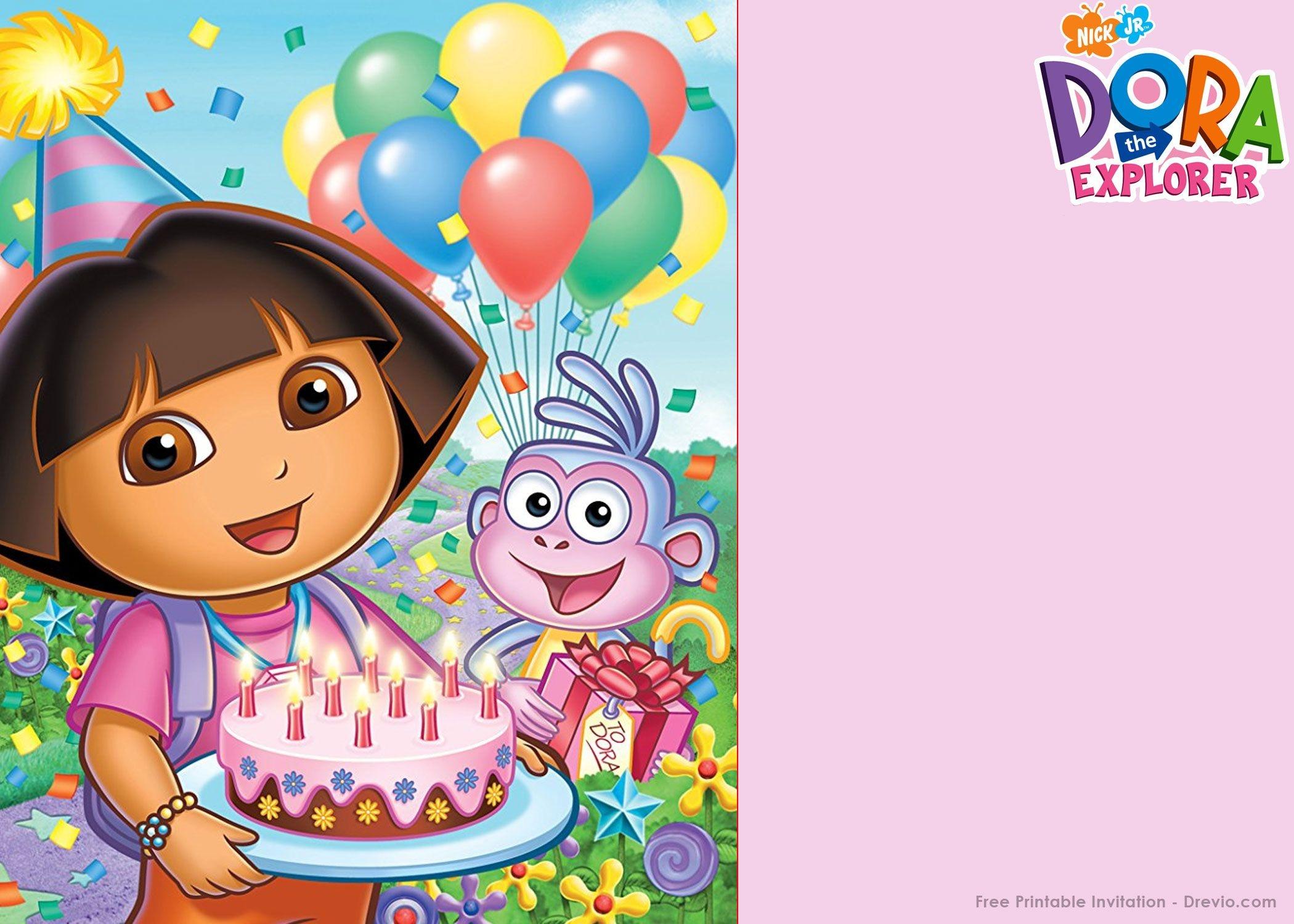 Free Printable Dora The Explorer Party Invitation | Birthday - Dora Birthday Cards Free Printable