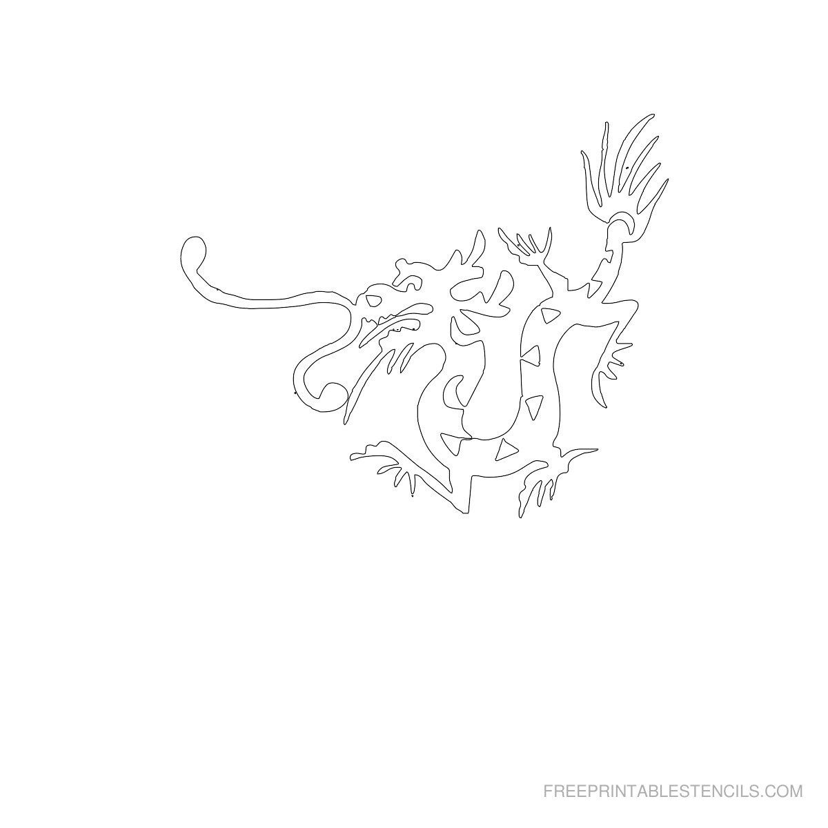 Free Printable Dragon Stencil C | Crafts To Try | Stencils - Free Printable Dragon Stencils