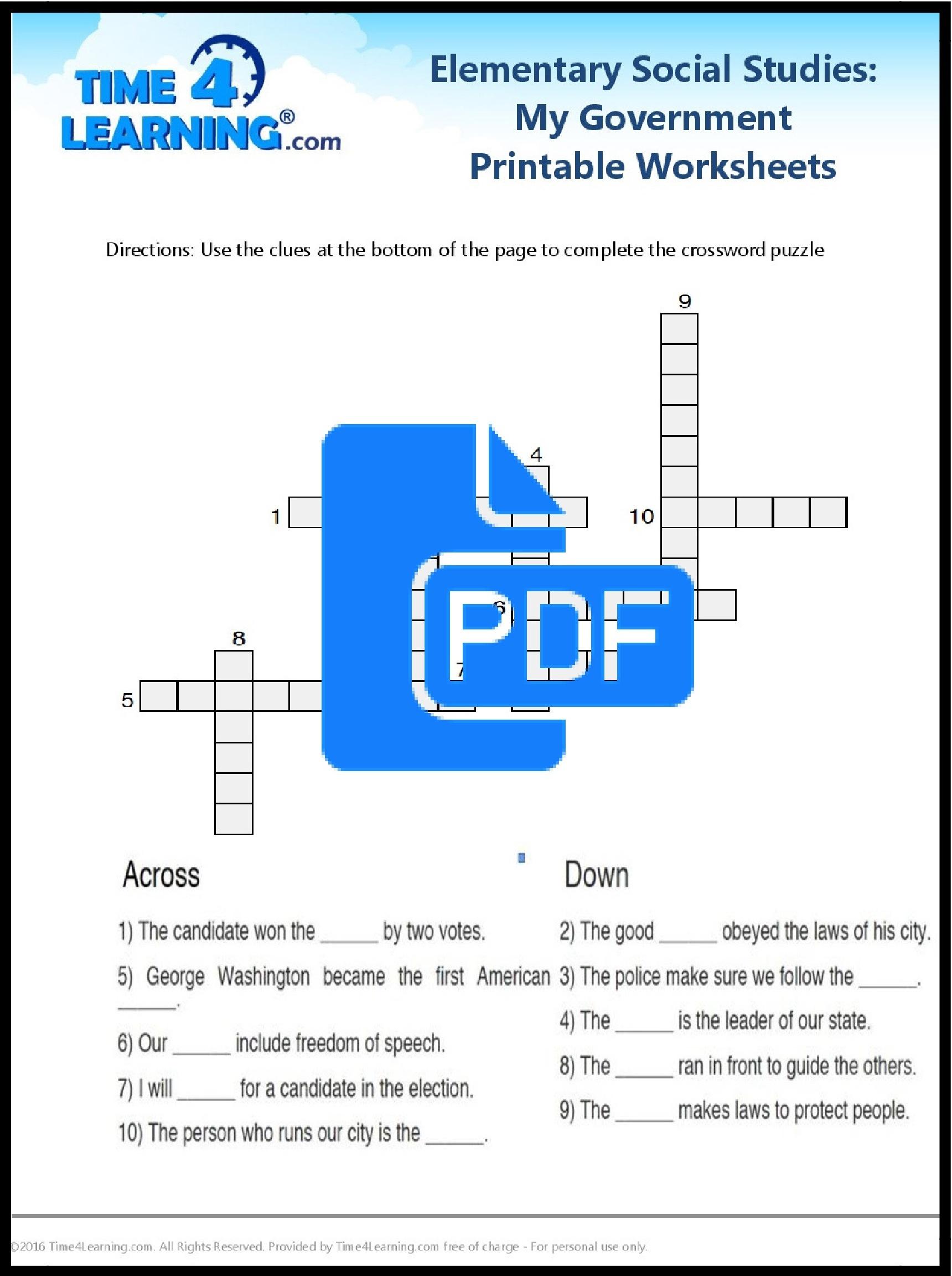 Free Printable: Elementary Social Studies Worksheet | Time4Learning - Social Studies Worksheets First Grade Free Printable