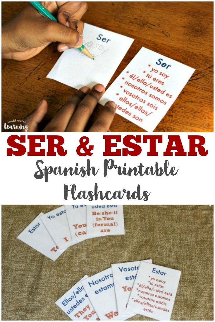 Free Printable Flashcards: Ser And Estar Flashcards   Mi Español - Free Printable Spanish Verb Flashcards