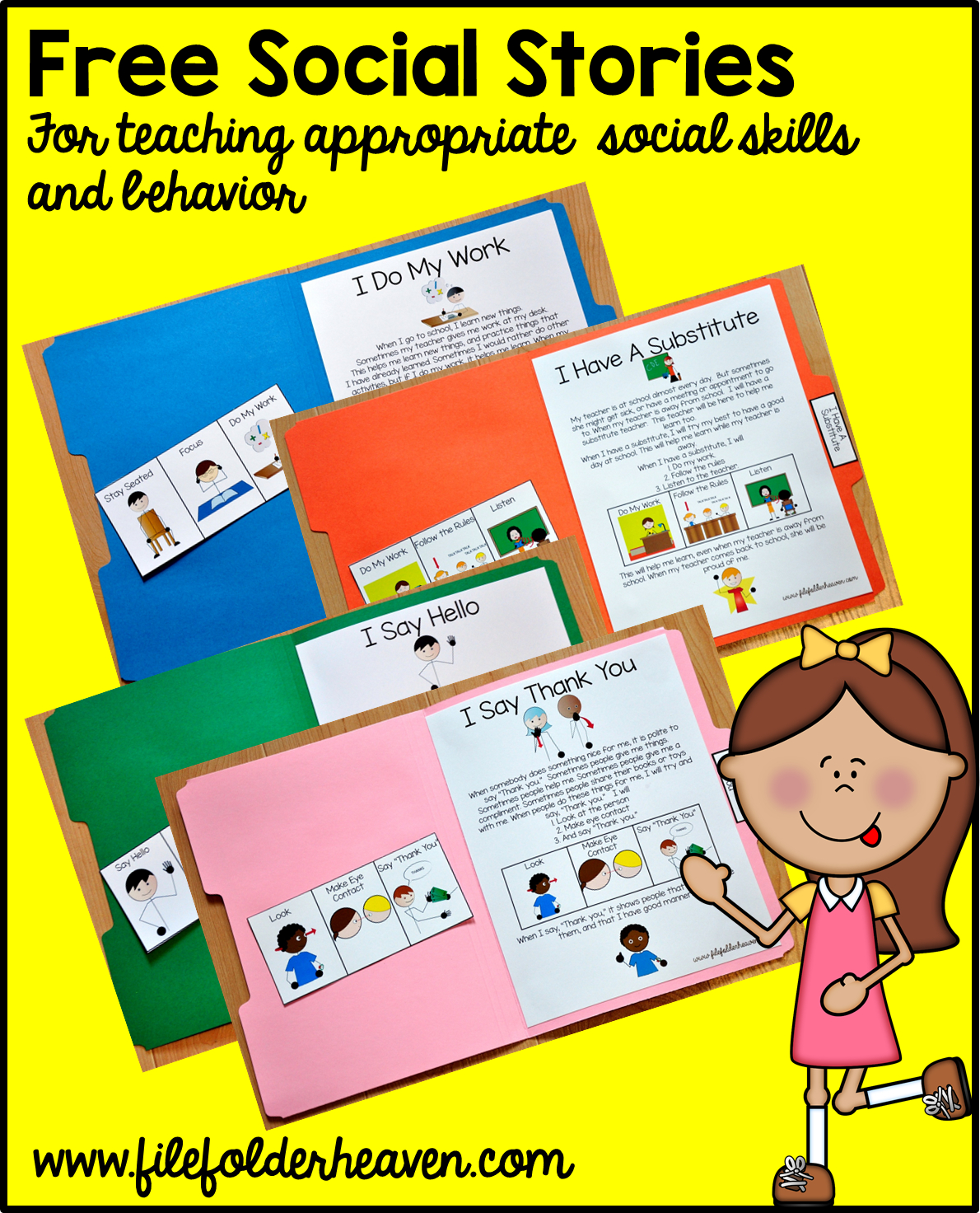 "Free, Printable ""folder Stories."" Simple One Page Social Stories - Free Printable Folder Games"