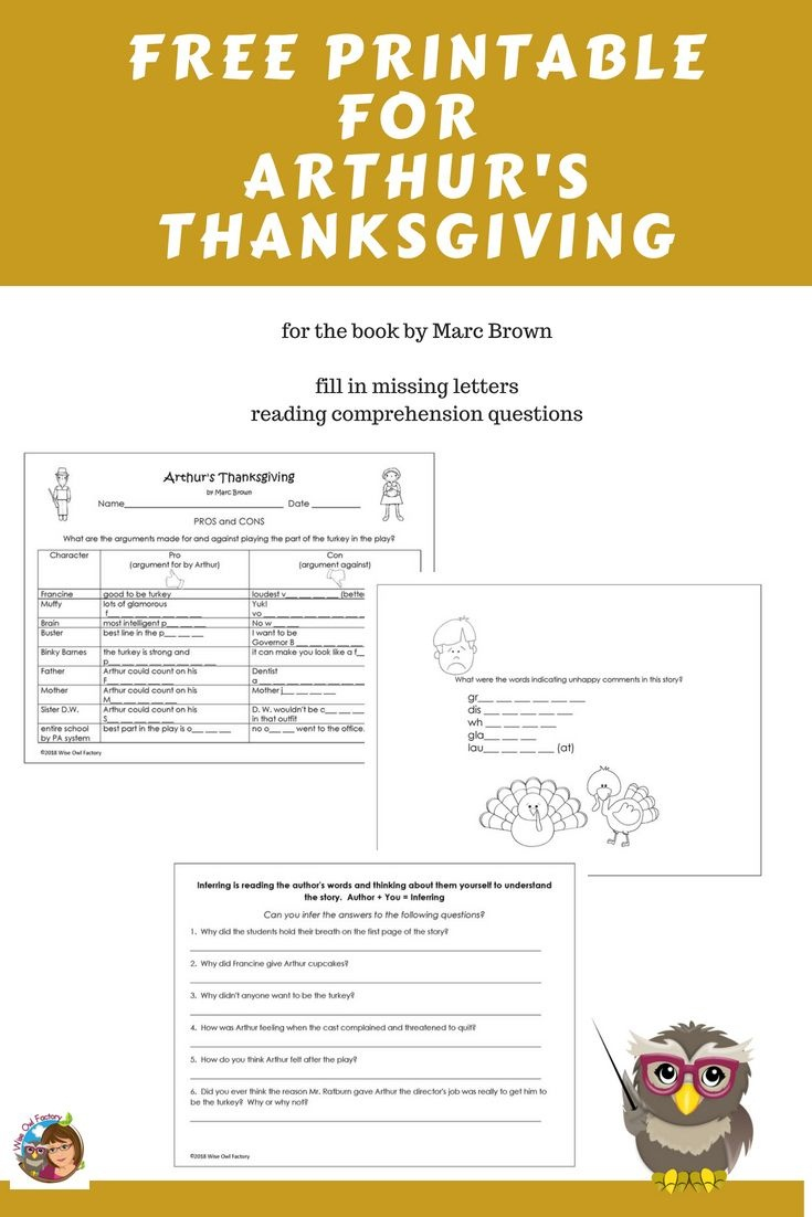 Free Printable For Arthur's Thanksgiving Book | Free On The Wise Owl - Thanksgiving Printable Books Free