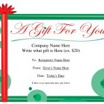 Free Printable Gift Certificate Template | Free Christmas Gift   Free Printable Tattoo Gift Certificates