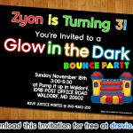 Free Printable Glow In The Dark Bounce Party Invitation Template   Free Printable Glow In The Dark Birthday Party Invitations