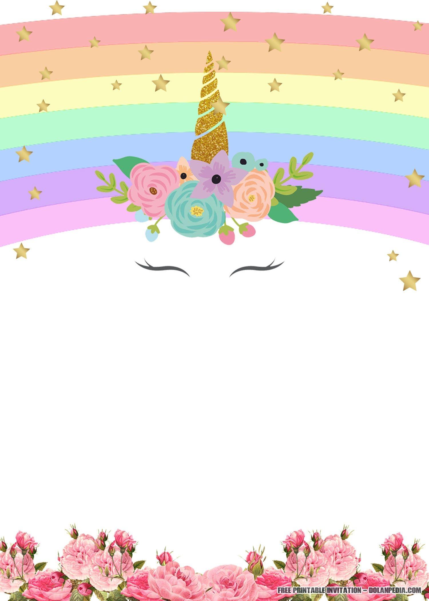 Free Printable Golden Unicorn Birthday Invitation Template | Unicorn - Free Printable Invitations