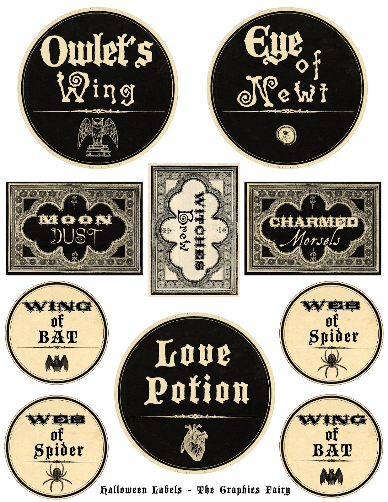 Free Printable Halloween Labels - Potions - The Graphics Fairy - Free Printable Labels For Bottles