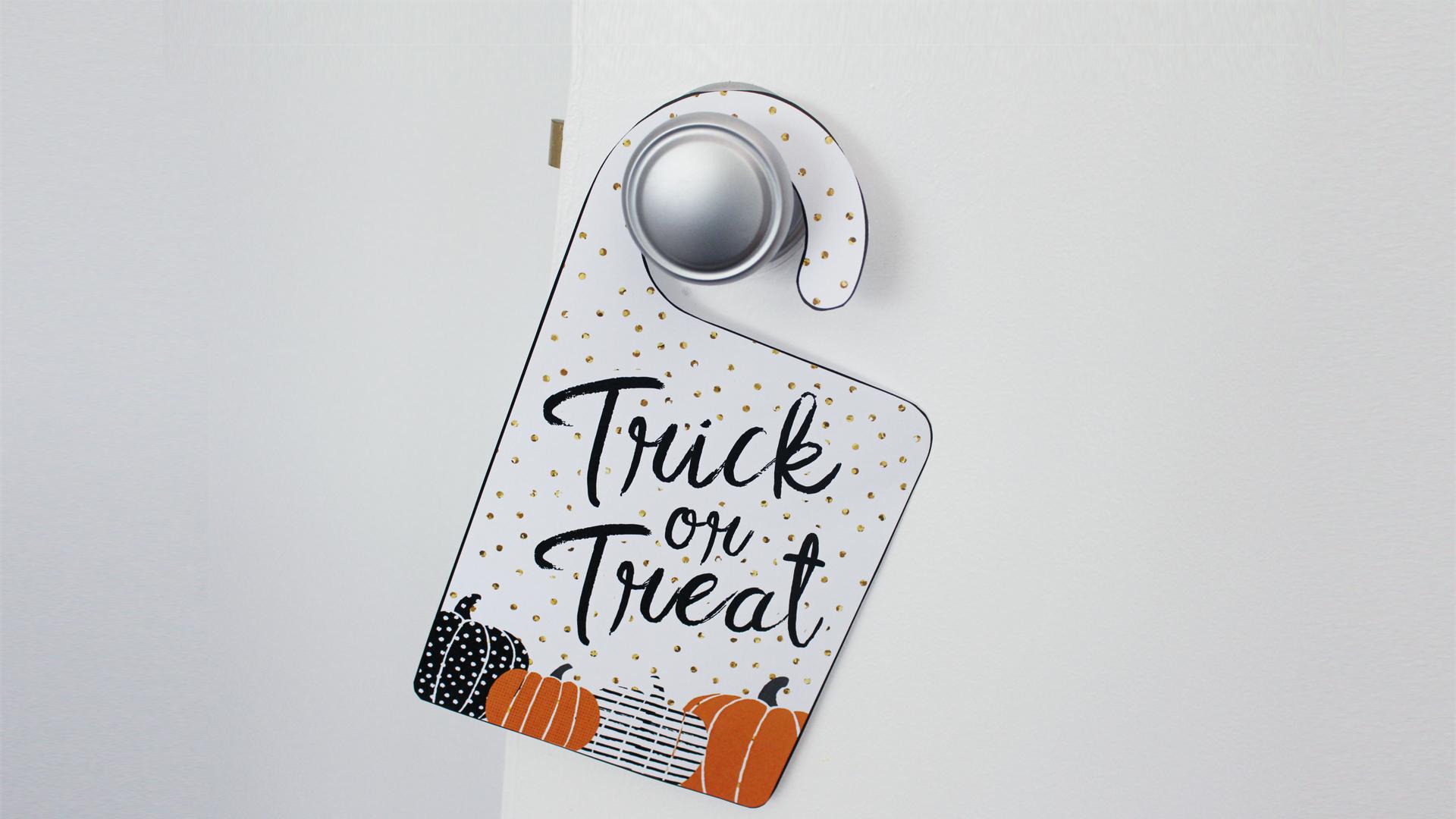 Free Printable Halloween Trick-Or-Treat Door Signs - Free Printable Bedroom Door Signs