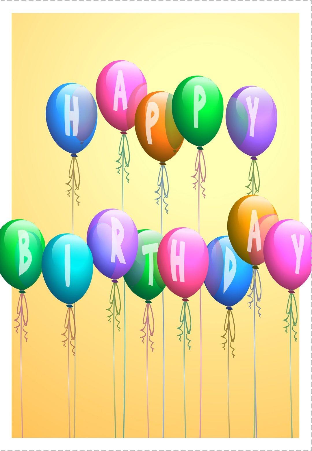 Free Printable Happy Birthday Baloons Greeting Card | Happy | Happy - Free Printable Happy Birthday Signs