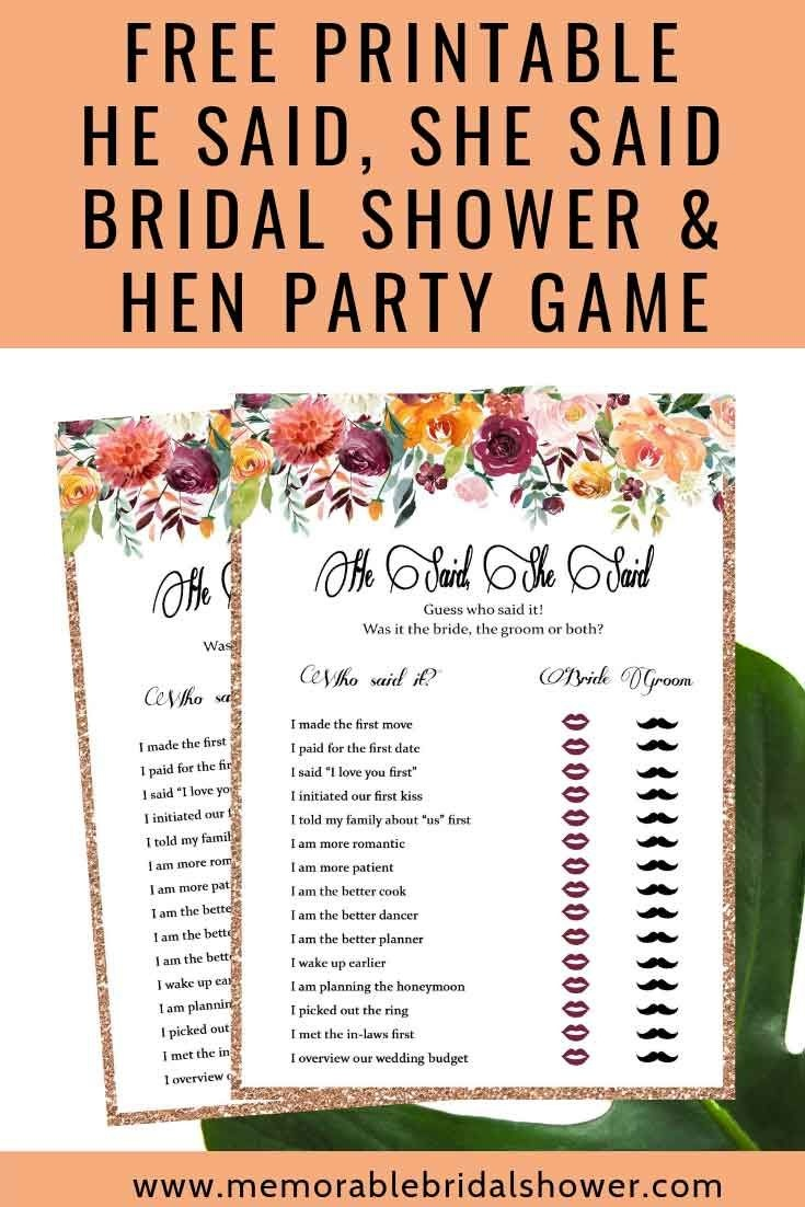 Free Printable He Said She Said Bridal Shower Game | Bridal Shower - He Said She Said Game Free Printable