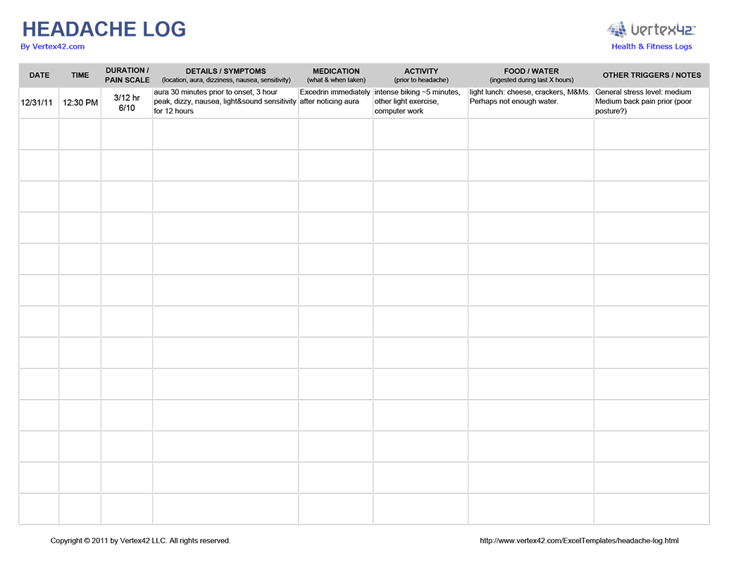 Free Printable Headache Log (Pdf) From Vertex42 | Migraine Log - Free Printable Headache Diary