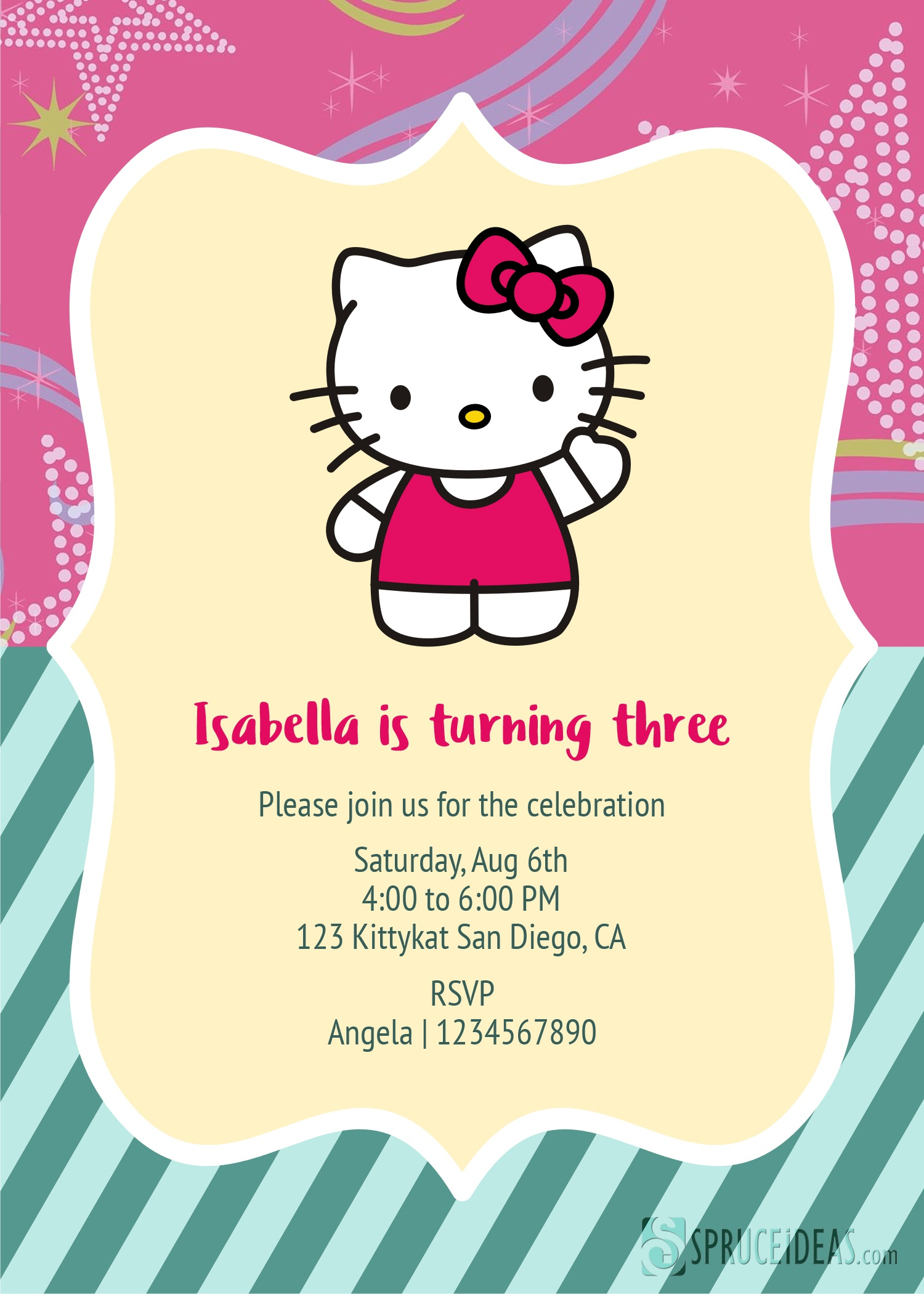 Free Printable Hello Kitty Birthday Invitation Card Template - Hello Kitty Birthday Card Printable Free