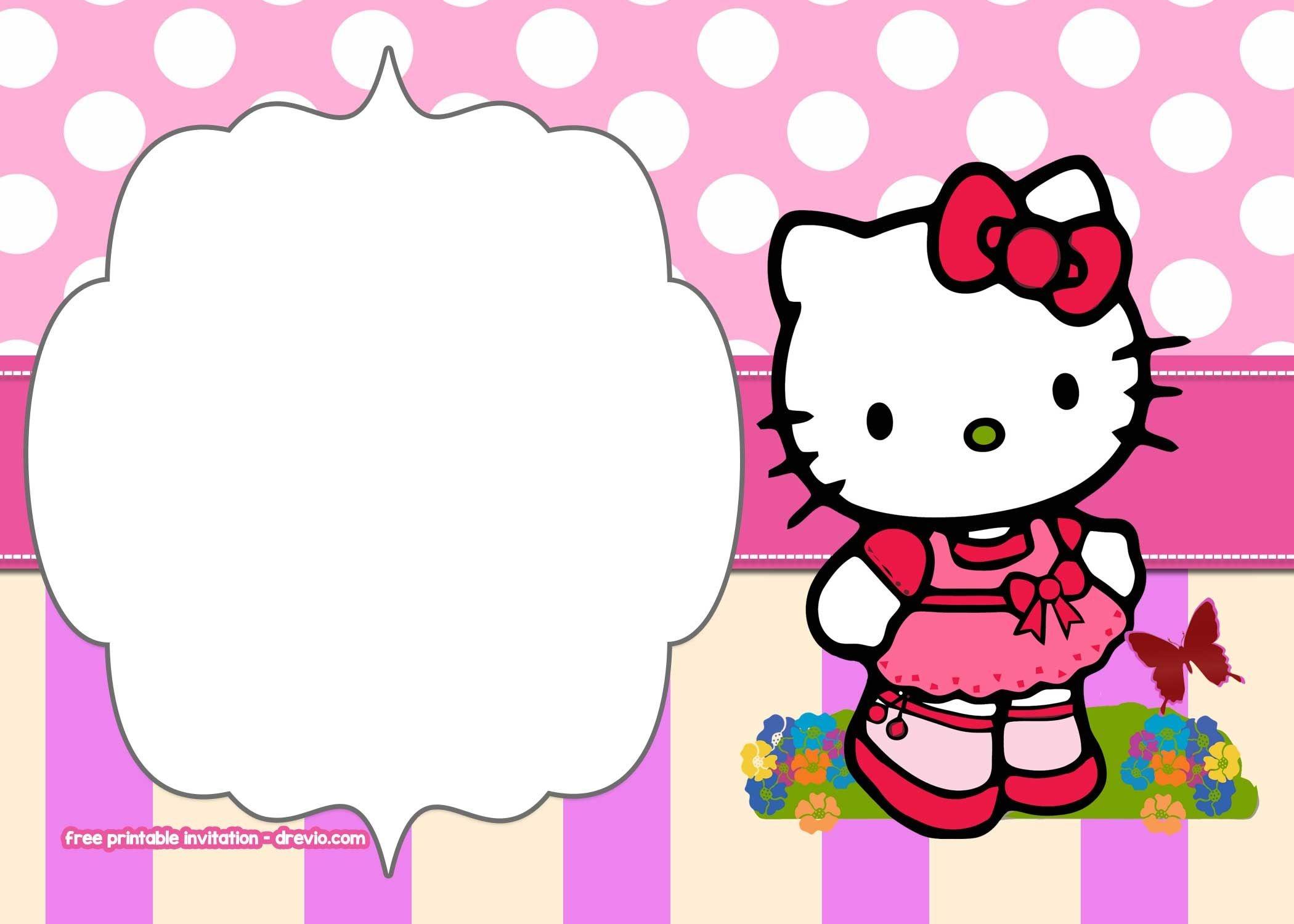 Free Printable Hello Kitty Pink Polka Dot Invitation Templates - Free Printable Polka Dot Birthday Party Invitations
