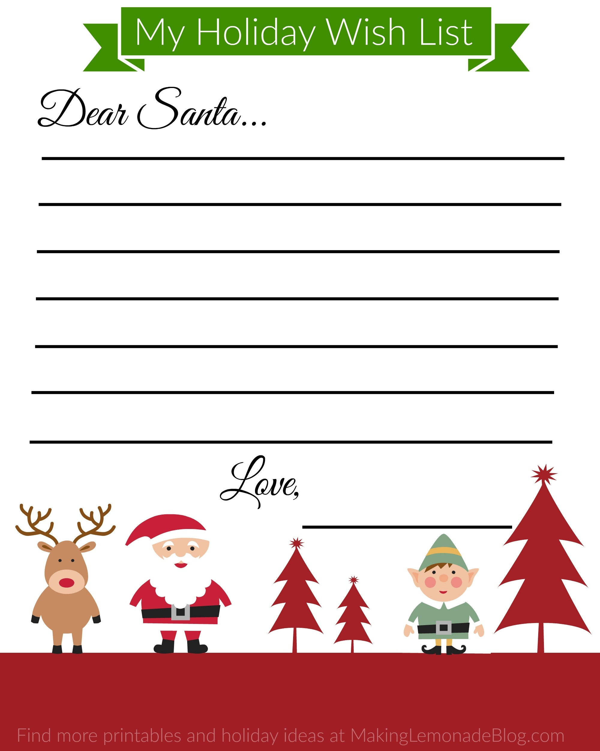 Free Printable Holiday Wish List For Kids | Making Lemonade - Free Printable Christmas Wish List