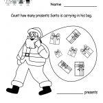 Free Printable Holiday Worksheets | Kindergarten Santa Counting   Free Printable Christmas Worksheets For Kids