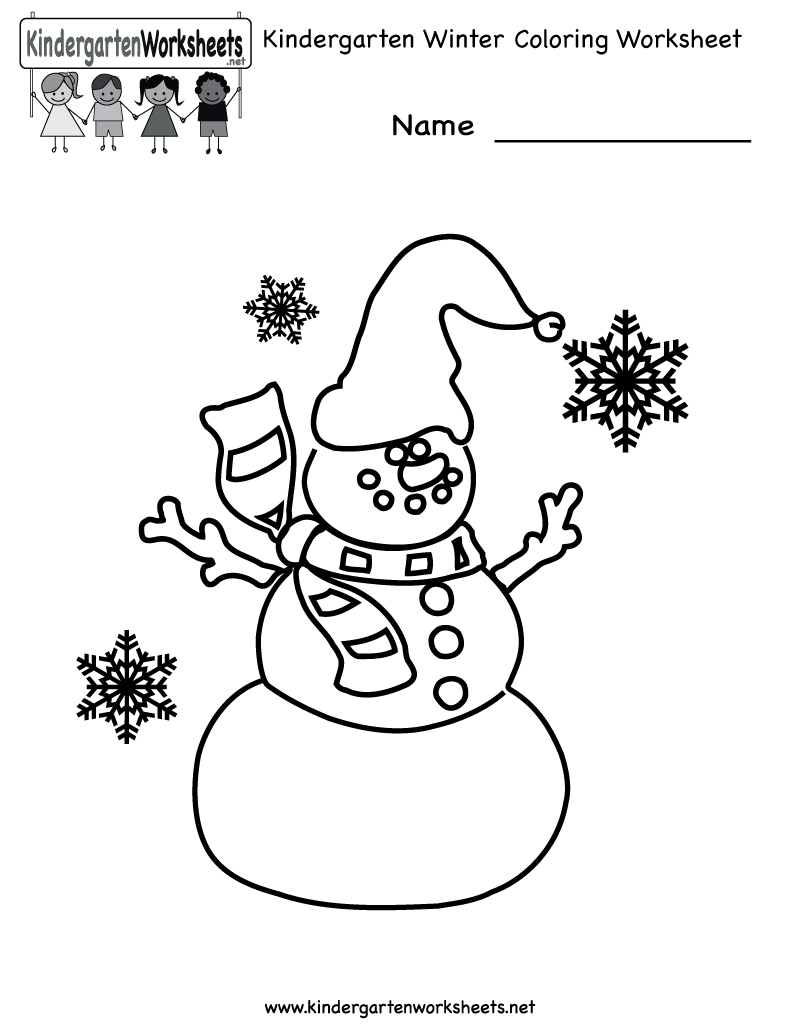 Free Printable Holiday Worksheets | Kindergarten Winter Coloring - Free Printable Winter Preschool Worksheets