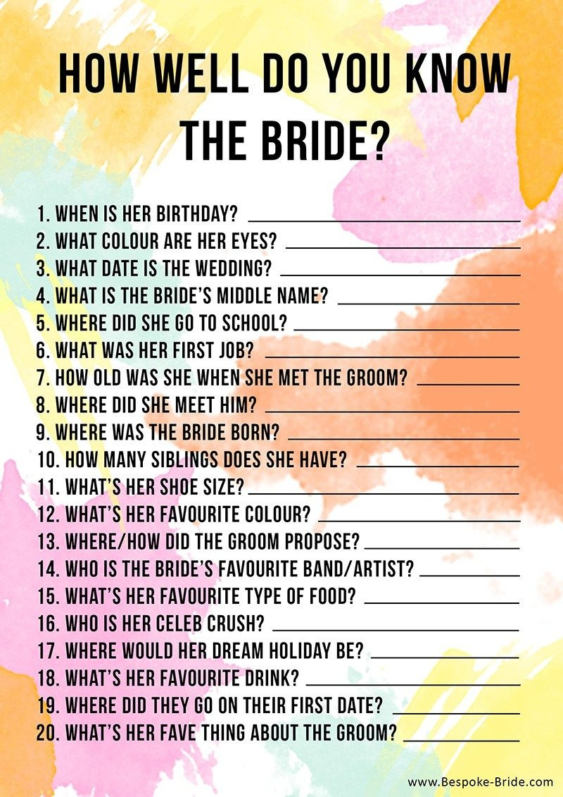 Free Printable 'how Well Do You Know The Bride?' Hen Party & Bridal - Free Printable Bachelorette Party Games