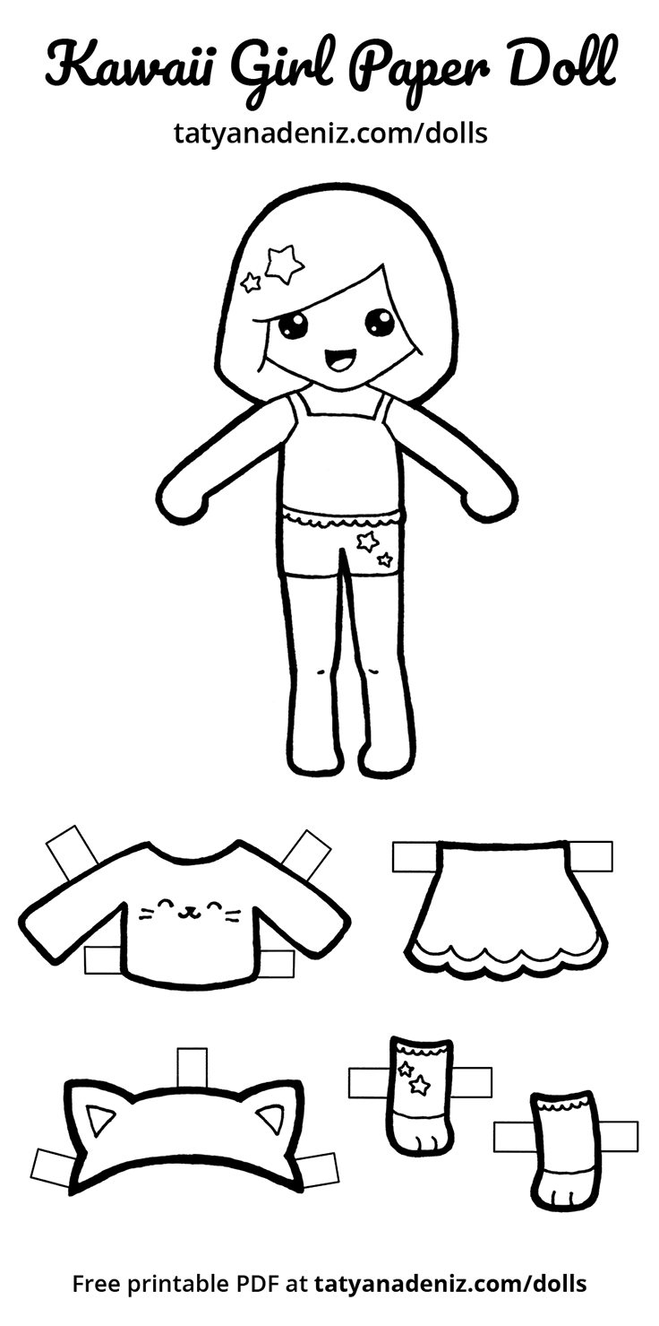 Free Printable Kawaii Paper Dolls | Paper Doll: Black And White - Free Printable Paper Dolls