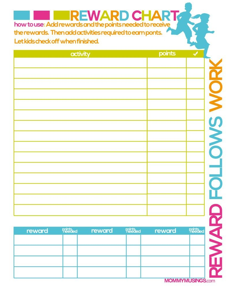 Free Printable Kids Chore & Rewards Chart | For The Home | Chores - Free Printable Reward Charts For Teenagers