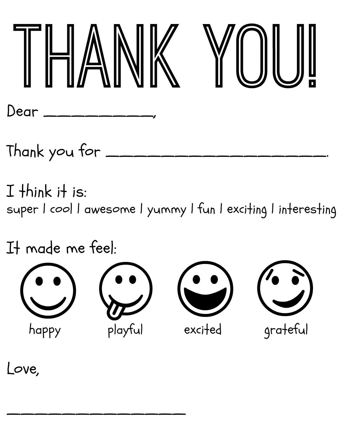 Free Printable Kids Thank You Cards To Color | Thank You Card - Free Printable Teacher Appreciation Cards To Color
