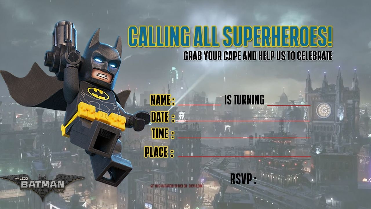 Free Printable Lego Batman The Movie Invitation | Free Printable - Lego Batman Invitations Free Printable