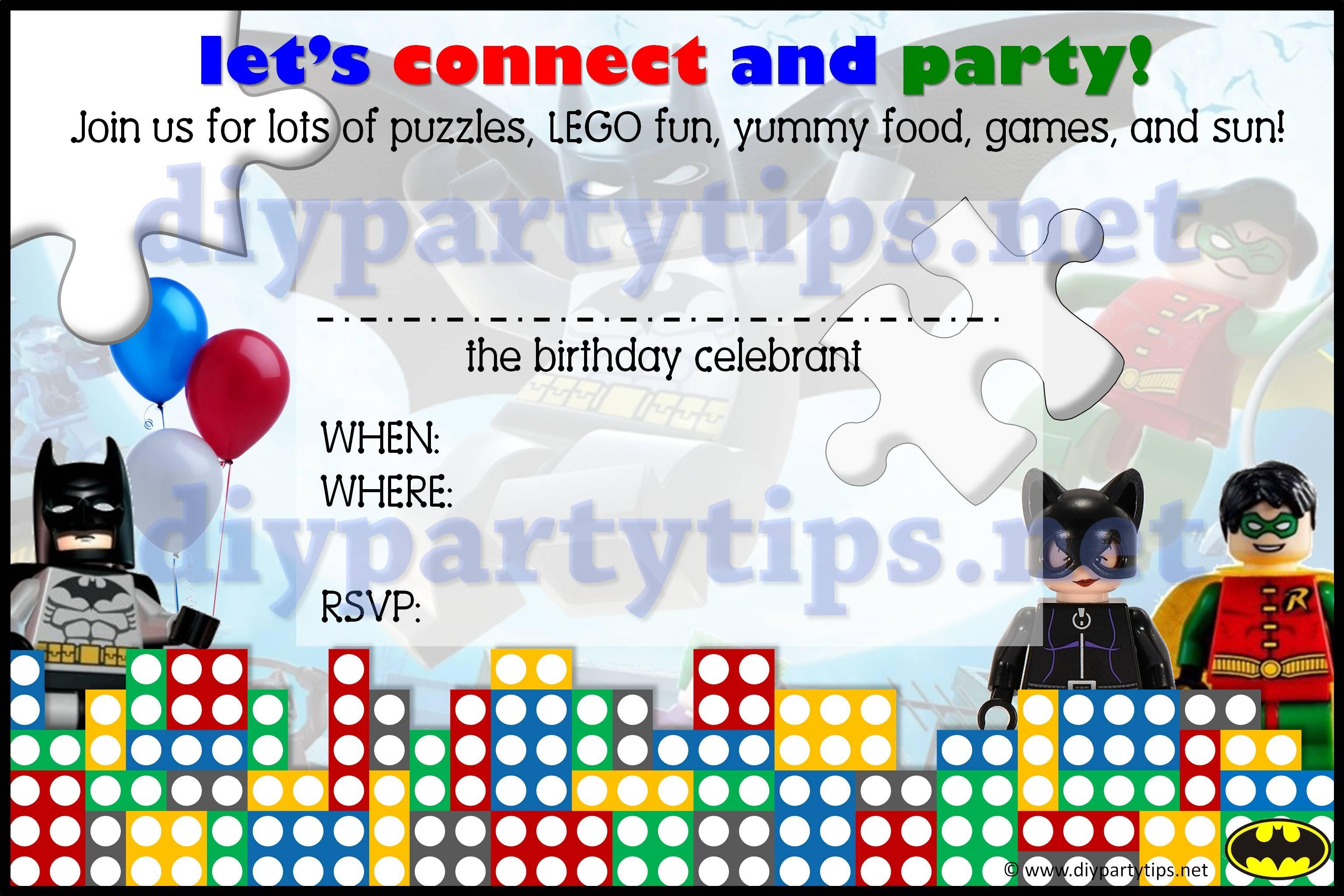Free Printable: Lego Party Invitation – Lola's Diy Party Tips - Transformers Party Invitations Free Printable
