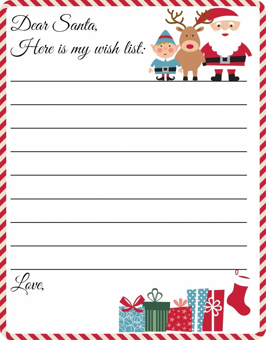 Free Printable Letter To Santa Template ~ Cute Christmas Wish List - Free Printable Christmas Letters