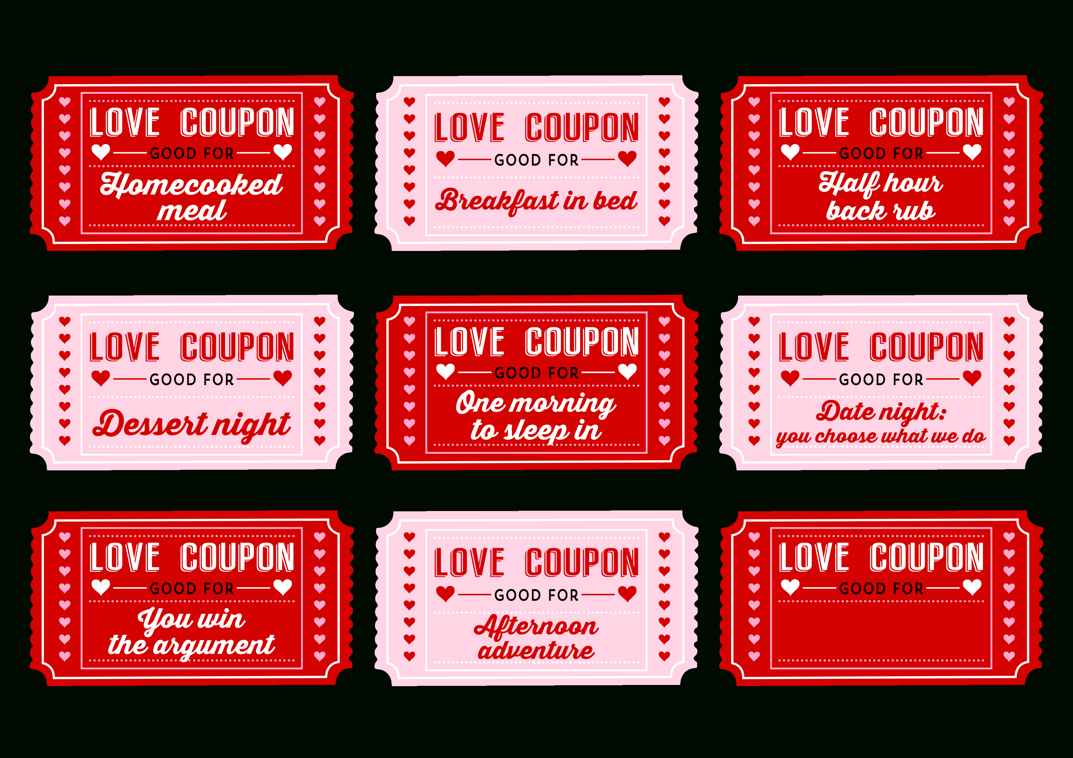Free Printable Love Coupons For Couples On Valentine's Day! | Decor - Free Printable Coupons For Husband