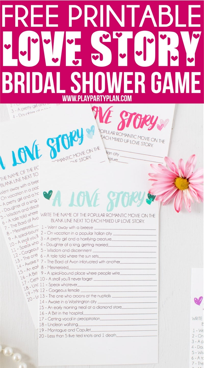 Free Printable Love Story Bridal Shower Game - Play Party Plan - Free Printable Group Games