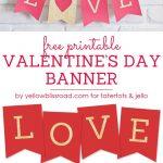 Free Printable Love Valentine's Day Glitter Banner   Free Printable Valentine Decorations