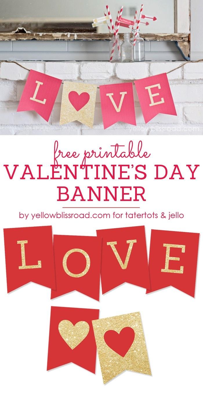 Free Printable Love Valentine's Day Glitter Banner - Free Printable Valentine Decorations