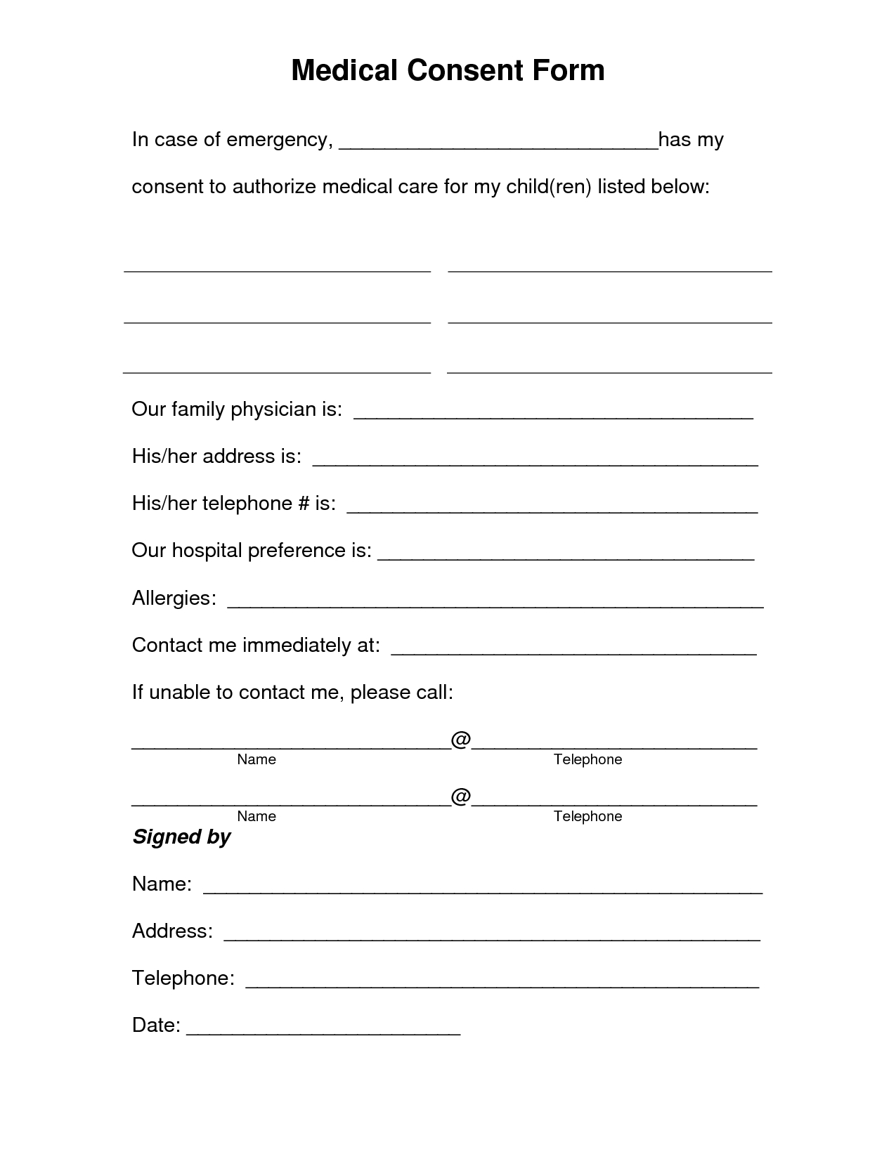 Free Printable Medical Consent Form | Free Medical Consent Form - Free Printable Daycare Forms