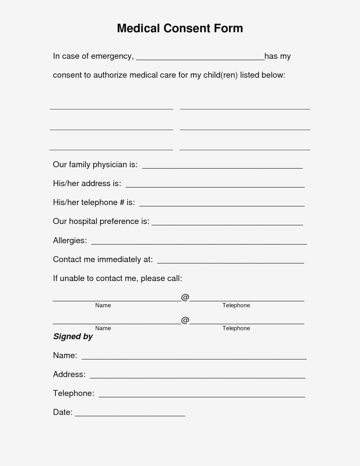 Free Printable Medical Consent Form | Free Medical Consent Form - Free Printable Parenting Plan