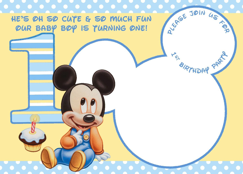 Free Printable Mickey Mouse Invitations - Exclusive | Free - Free Printable Baby Mickey Mouse Birthday Invitations