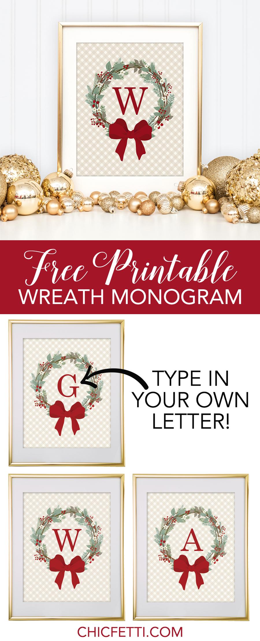 Free-Printable-Monogram-Maker-Christmas-Weath - Diybunker - Create Your Own Free Printable Christmas Cards