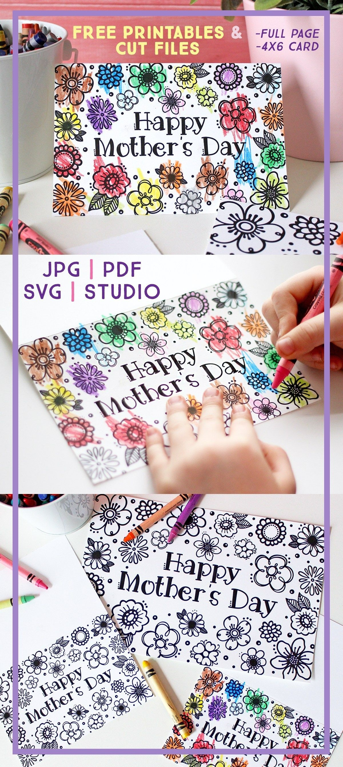 Free Printable Mother's Day Coloring Page & Card (Cut Files Too - Free Printable Mothers Day Cards To Color