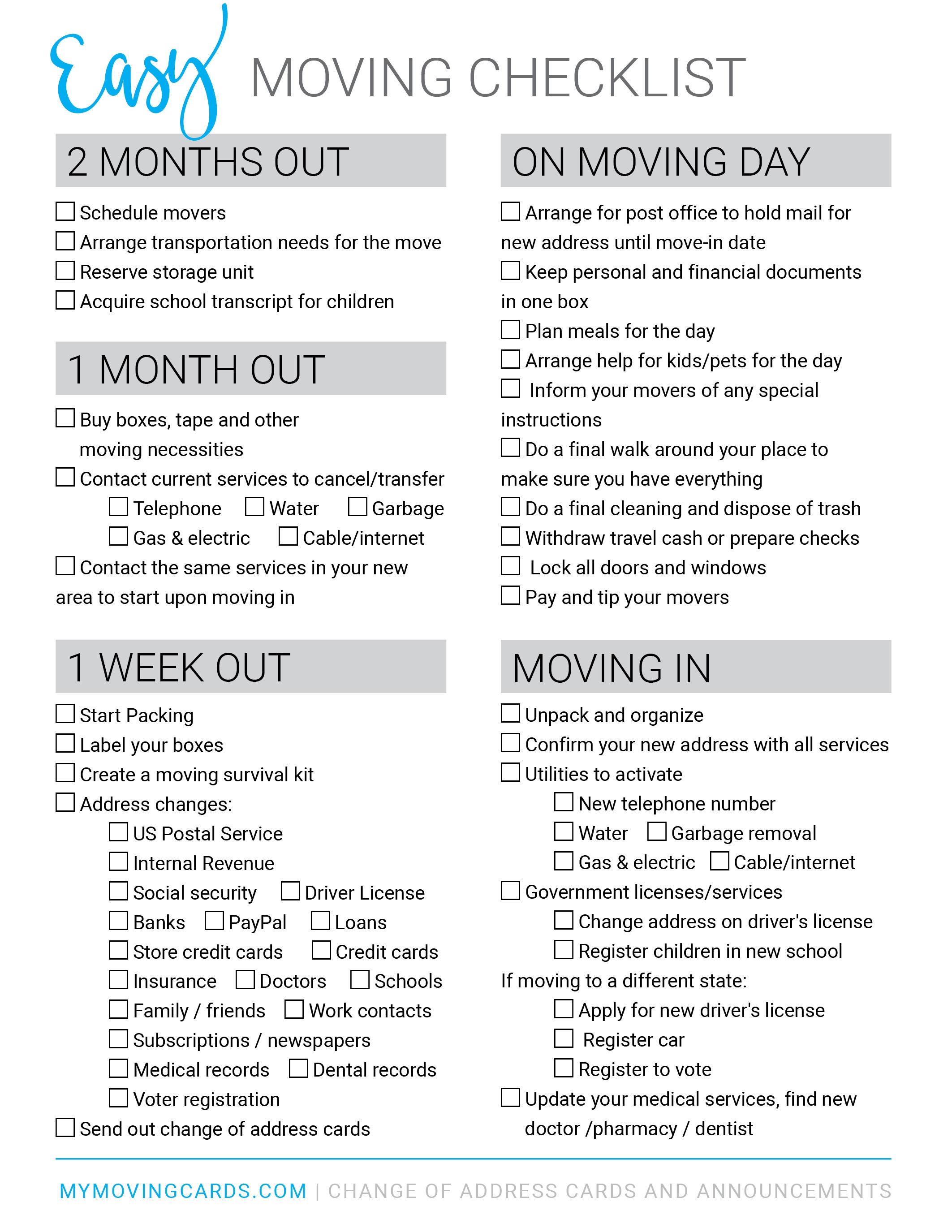 Free Printable Moving Checklist | Personalized Moving Cards - Free Printable Change Of Address Cards