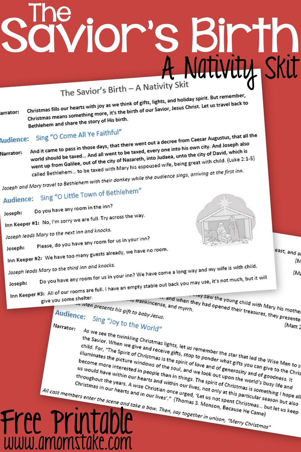 Free Printable Nativity Skit To Act Out The Birth Of The Savior - Free Printable Christmas Plays Church
