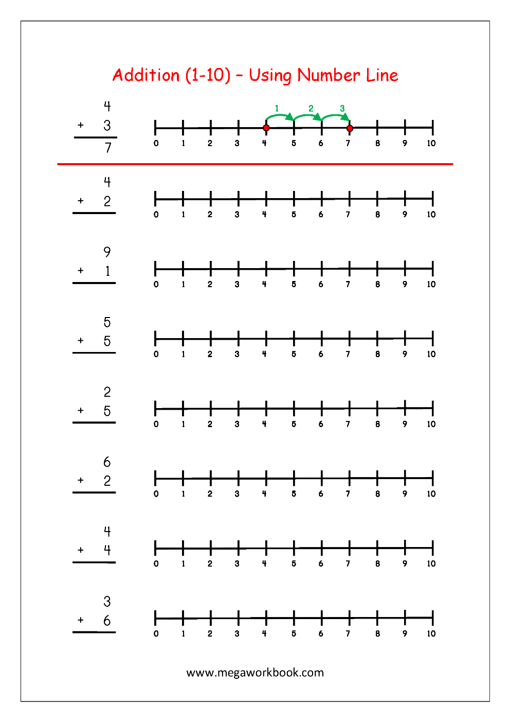 Free Printable Number Addition Worksheets (1-10) For Kindergarten - Free Printable Number Line For Kids