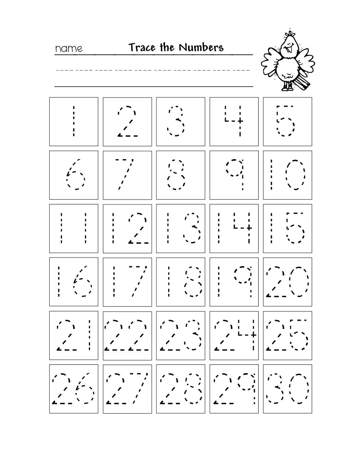 Free Printable Number Chart 1-30   Kinder   Number Tracing - Free Printable Tracing Numbers 1 50