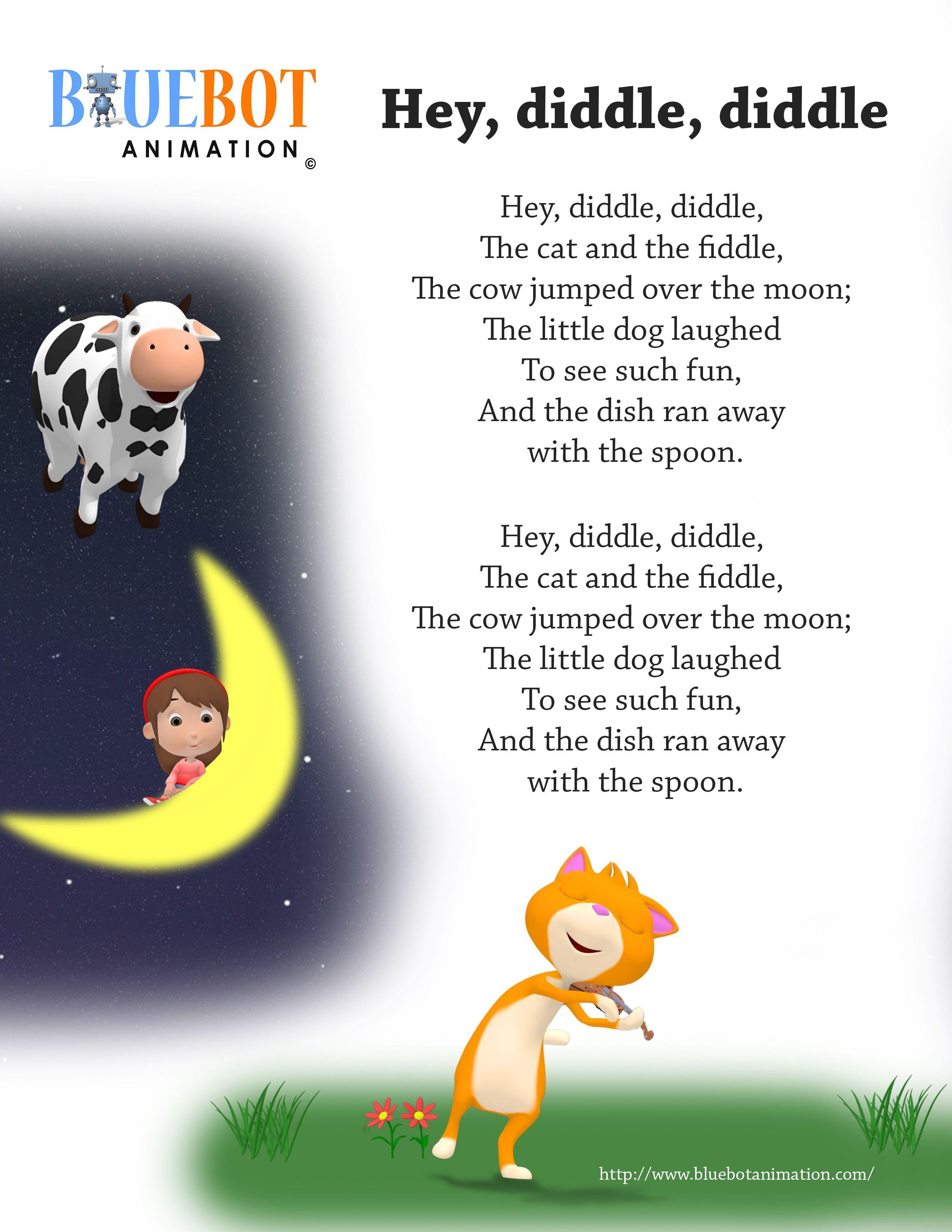 Free Printable Nursery Rhyme Lyrics Page. , Hey Diddle Diddle, Hey - Free Printable Nursery Rhymes